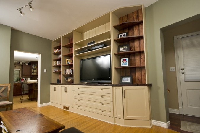 Fir plank wall unit