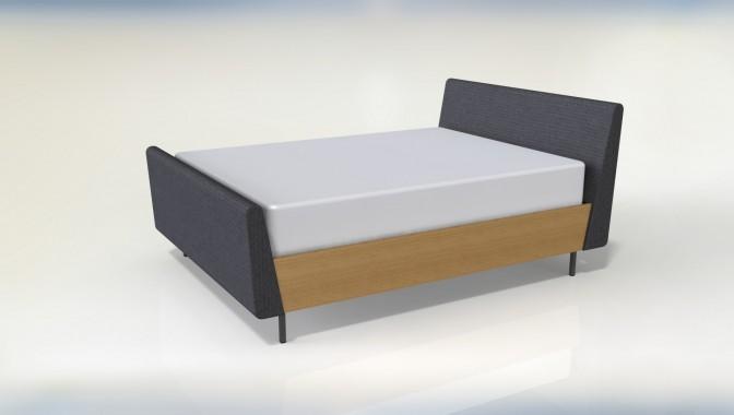 Oak veneer and upholstery bed frame